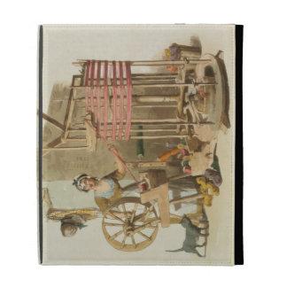 Una lana Skeiner de la mujer, grabado por el artis