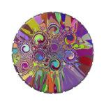 ¡Una lata swirly colorida brillante de la diversió Frascos De Caramelos
