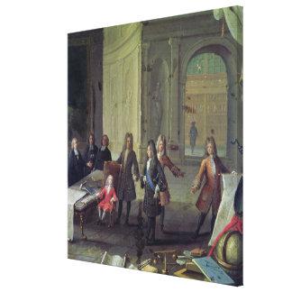 Una lección que es dada al Louis joven XV Impresión En Lienzo