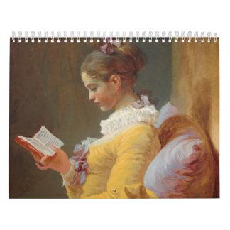 Una lectura de la chica joven, el lector de J. Fra Calendarios De Pared