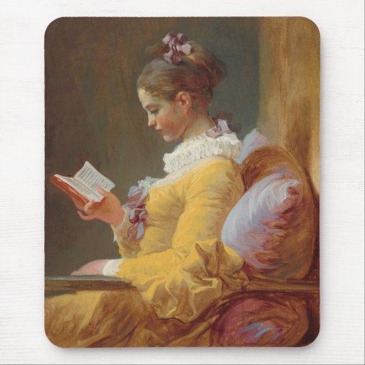 Una lectura de la chica joven el lector de J Fra Alfombrilla De Raton