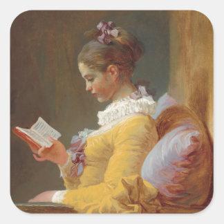 Una lectura de la chica joven, el lector de J. Pegatina Cuadrada