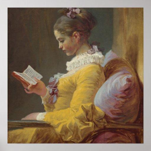 Una lectura de la chica joven póster
