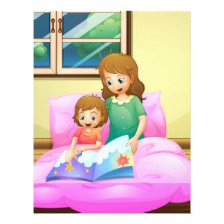 Una lectura de la madre con su hija membretes personalizados