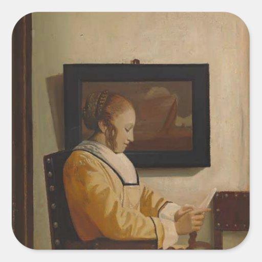 Una lectura de la mujer joven de Juan Vermeer Calcomania Cuadradas Personalizadas