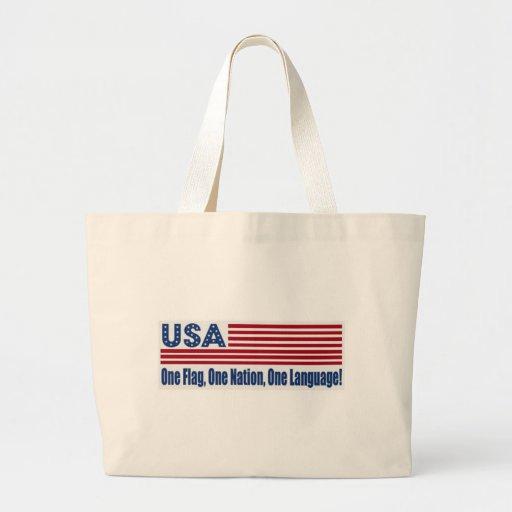 Una lengua de la nación una de la bandera una bolsas lienzo