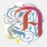 Una letra escarlata etiquetas redondas