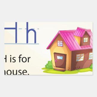 Una letra H para la casa Pegatina Rectangular