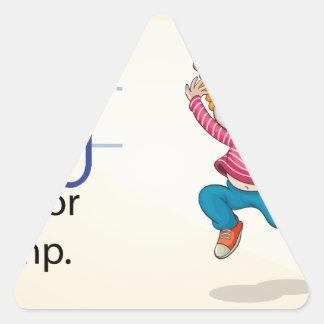 Una letra J para el salto Pegatina Triangular