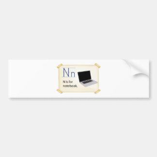 Una letra N para el cuaderno Pegatina Para Auto