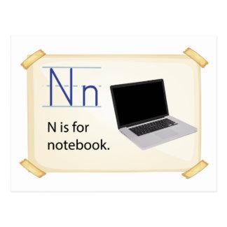 Una letra N para el cuaderno Postales
