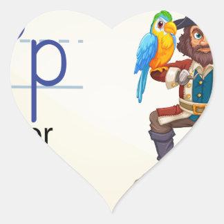 Una letra P para el pirata Pegatina En Forma De Corazón