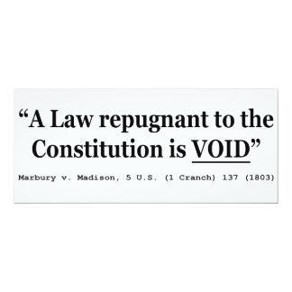"""Una ley repugnante a la constitución está vacía invitación 4"""" x 9.25"""""""