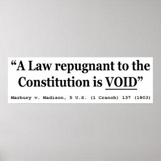 Una ley repugnante a la constitución está vacía impresiones