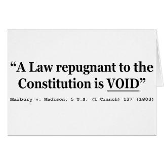 Una ley repugnante a la constitución está vacía tarjeta de felicitación