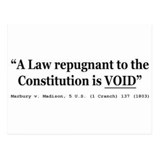 Una ley repugnante a la constitución está vacía tarjeta postal