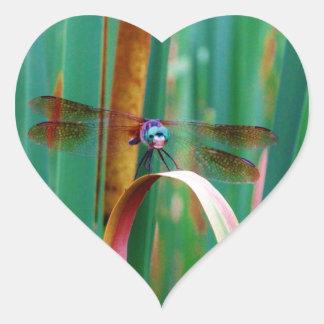 Una libélula observada trullo con cattails pegatina en forma de corazón