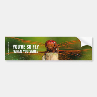 Una libélula roja sonriente pegatina para auto