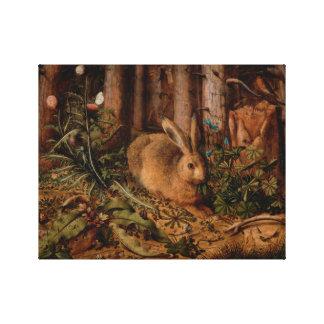 Una liebre en la lona del bosque impresión de lienzo
