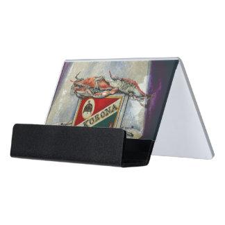 Una llama vieja caja de tarjetas de visita para escritorio