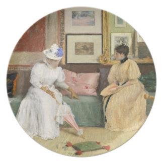 Una llamada amistosa, 1895 (aceite en lona) plato para fiesta