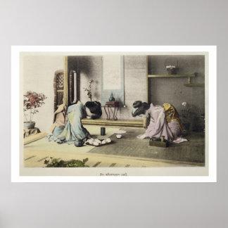 Una llamada de la tarde, c.1880 (albumen coloreado póster