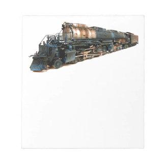 Una locomotora de vapor grande del muchacho blocs de notas