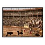 Una lucha de toro, vintage Photochrom de Barcelona Postal