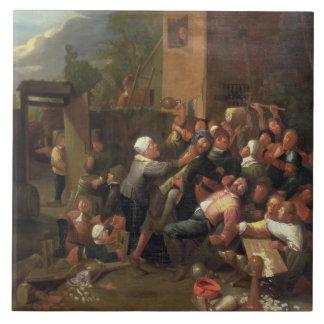 Una lucha fuera de una taberna azulejo cuadrado grande