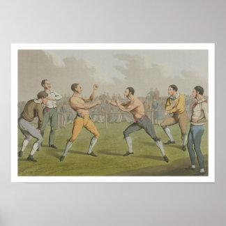 Una lucha premiada, aquatinted por I. Clark, pub.  Poster
