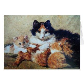 Una madre orgullosa - un gato con sus gatitos tarjeta de felicitación