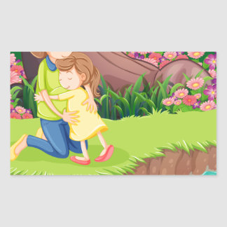 Una madre que abraza a su hija en el riverbank pegatina rectangular