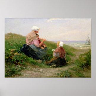 Una madre y sus pequeños niños póster
