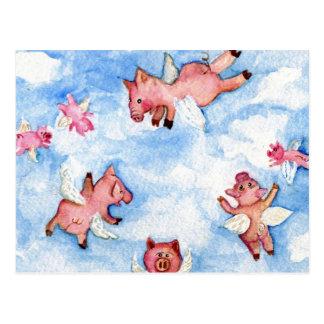 una manada feliz de la postal de los cerdos del