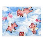 una manada feliz de la postal de los cerdos del vu