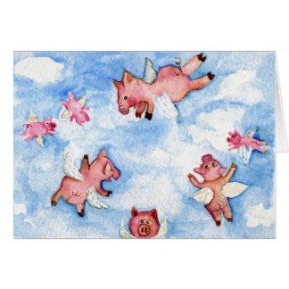 una manada feliz de la TARJETA de los cerdos del v