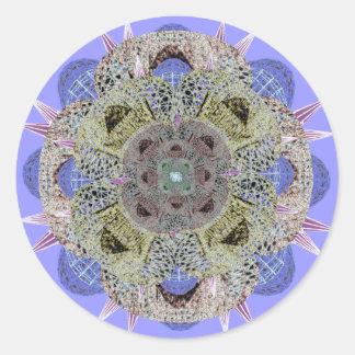 Una mandala más profunda de los artes Azul-Afiló Pegatina Redonda
