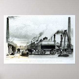 Una manufactura del Vapor-Motor y trabajos del hie Póster