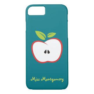 Una manzana con las hojas de un esquema rojo y del funda iPhone 7
