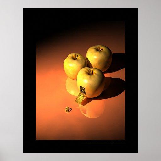 Una manzana del mecanismo - mécanique de oro impresiones