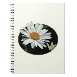 Una margarita blanca libros de apuntes con espiral