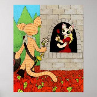 Una margarita en un campo de rosas poster
