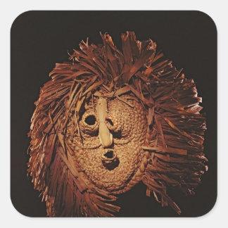 Una máscara del Seneca usada en ritos del invierno Pegatina Cuadrada