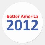 Una mejor América 2012 Etiquetas Redondas