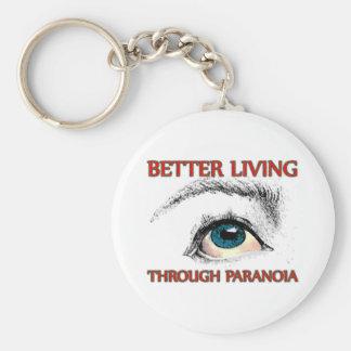 Una mejor vida a través de la paranoia llavero redondo tipo pin