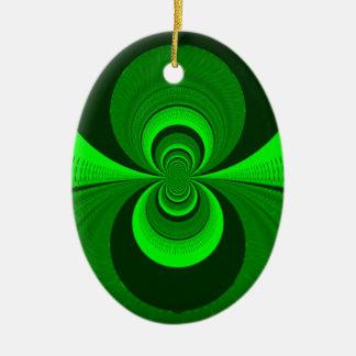 Una mejor visión nocturna adorno navideño ovalado de cerámica