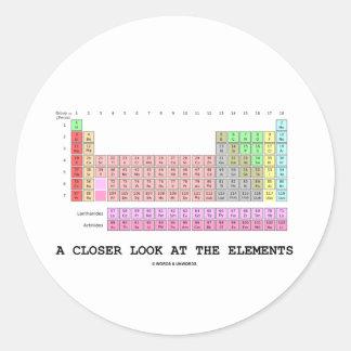 Una mirada más atenta en los elementos (química) pegatina redonda