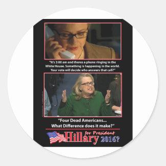 Una mirada sarcástica en Hillary para el Pegatina Redonda