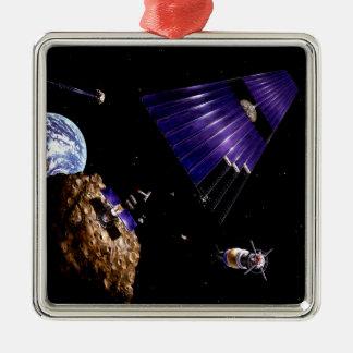 Una misión asteroide de la explotación minera adorno navideño cuadrado de metal