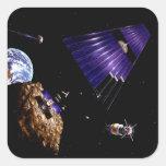 Una misión asteroide de la explotación minera pegatinas cuadradases personalizadas